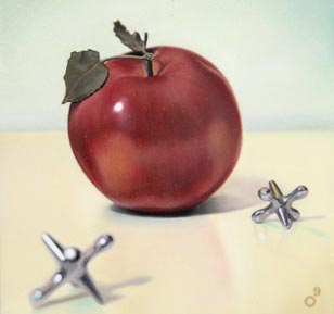 <em>apple jacks</em>, oil on cradled panel, 6-in. x 6-in.