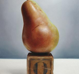 <em>o pear</em>, oil on cradled panel, 8-in. x 6-in.