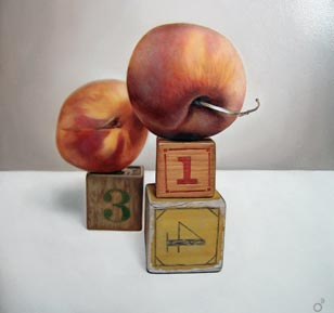 <em>peach pi</em>, oil on panel, 18-in. x 18-in.