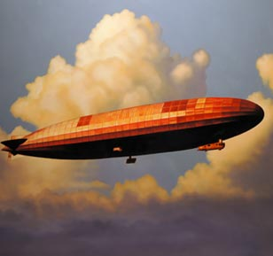 <em>red zeppelin I</em>, oil on cradled panel, 30-in. x 40-in.