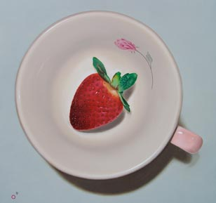 <em>strawberry teacup</em>, oil on cradled panel, 12-in. x 12-in.